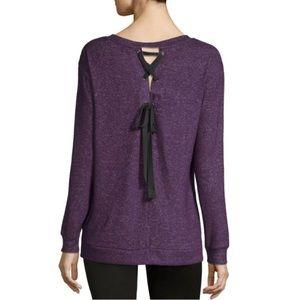 NWT a.n.a. V-Neck L/S Lace-Up/Tie Back Knit Blouse